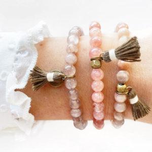 Bracciali in pietra di sole agata e quarzo rosa